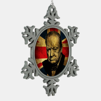 Winston Churchill Snowflake Pewter Christmas Ornament