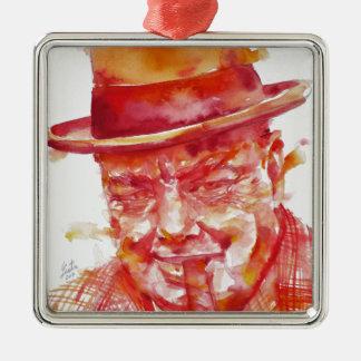 winston churchill - watercolor portrait metal ornament