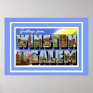 Winston Salem North Carolina Large Letter Greeting Poster