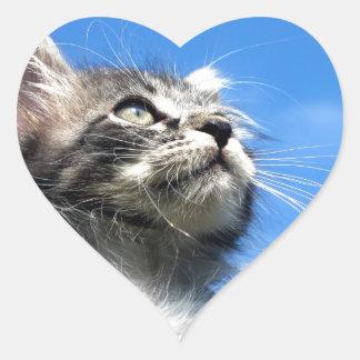 Winston the Tabby Aviator Cat Heart Sticker
