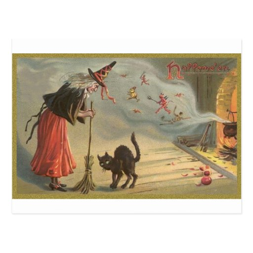 Wintage Halloween Witch, Cat Postcards
