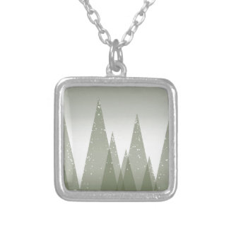 Winter Abstract Forest Scene Silver Plated Necklace