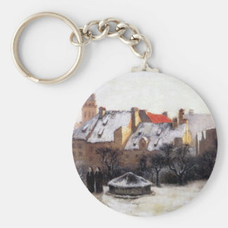 Winter Afternoon Old Munich by T. C. Steele Basic Round Button Key Ring