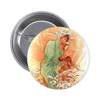 Winter - Alphonse Mucha Art Nouveau 6 Cm Round Badge