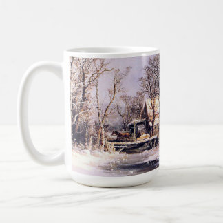 Winter Americana Country Horses Sleigh Creek Mug