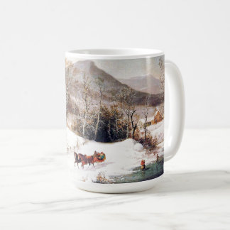 Winter Americana Country Horses Sleigh Pond Mug