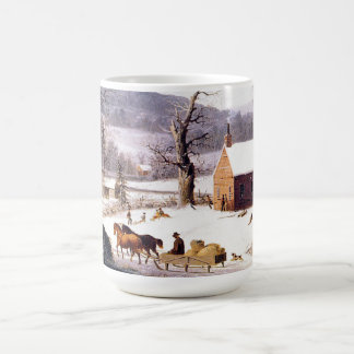 Winter Americana Horses Sleigh School House Mug