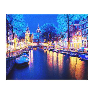Winter Amsterdam Canal At Night With Boats Canvas Print