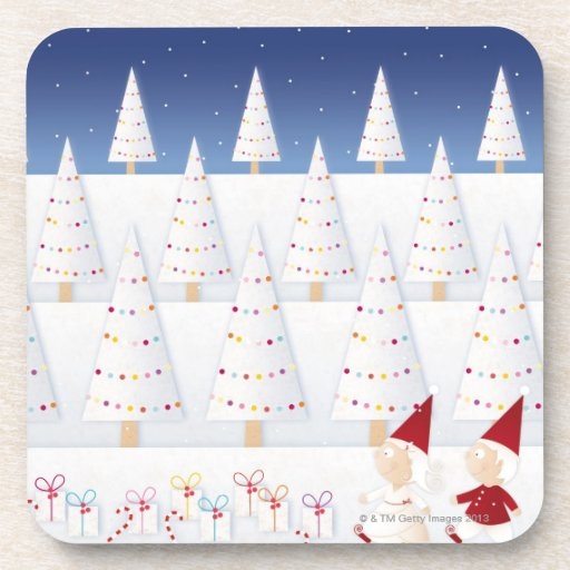 Winter and forest all covered with snow beverage coasters