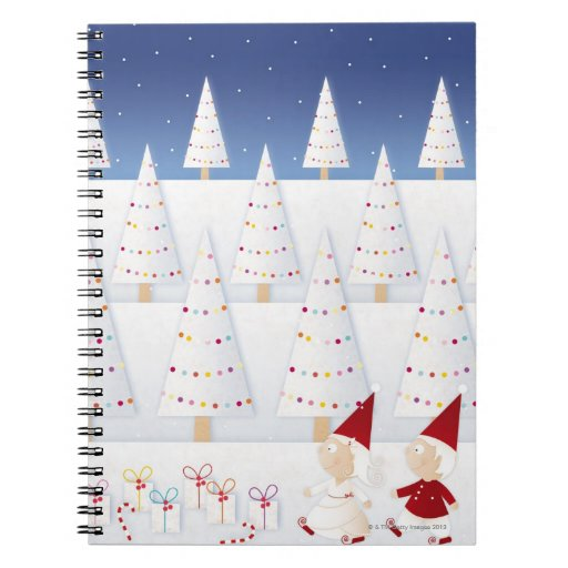 Winter and forest all covered with snow spiral note book