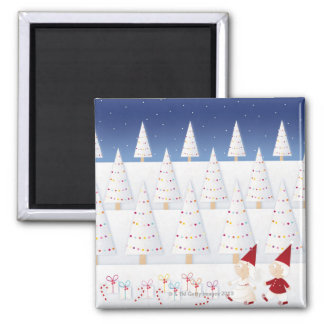 Winter and forest all covered with snow square magnet