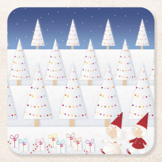 Winter and forest all covered with snow square paper coaster