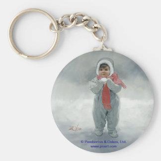 Winter Angel Basic Round Button Key Ring