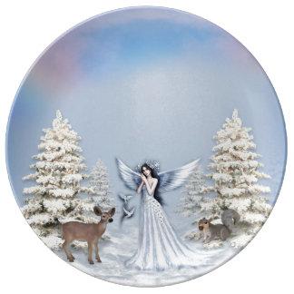 Winter Angel Snow Scene Porcelain Plate