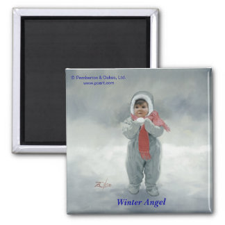 Winter Angel Square Magnet