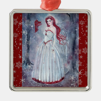 Winter angel with cardinal Christmas ornament
