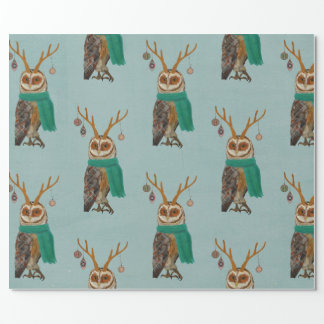 WINTER ANTLER OWL Wrapping Paper