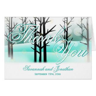 Winter Aqua Woodland Trees Wedding Thank You Cards