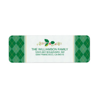 Winter Argyle Return Address Labels (green)