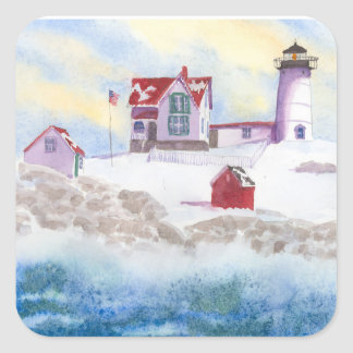 Winter at Nubble LIghthouse in Maine Square Sticke Square Sticker