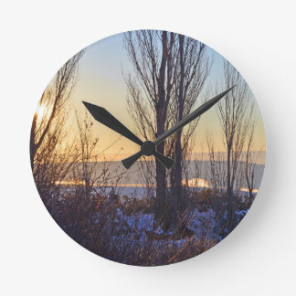 Winter At The Watering Hole Round Clocks