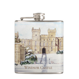 Winter at Windsor Castle by Farida Greenfield Hip Flask