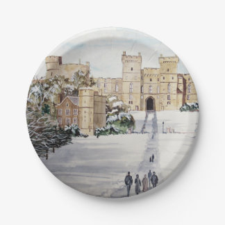 Winter at Windsor Castle Paper Plate