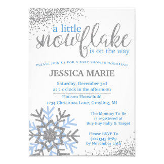 Winter Baby Shower Invitation - Blue Snowflake