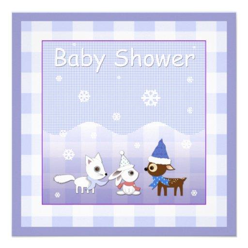 Winter Baby Shower Invitations Fox Bunny Deer