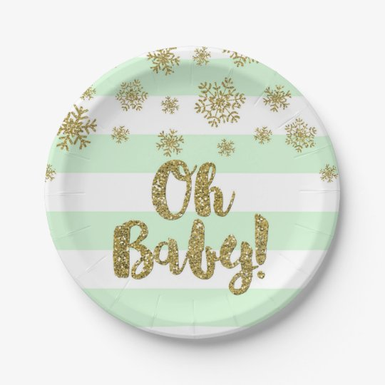 Winter Baby Shower Plate Mint Stripes Gold Snow
