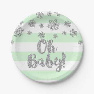 Winter Baby Shower Plate Mint Stripes Silver Snow