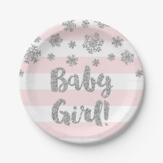 Winter Baby Shower Plate Pink Stripes Silver Snow