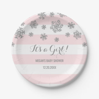 Winter Baby Shower Plate Pink Stripes Snow