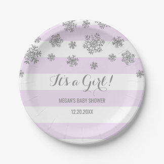 Winter Baby Shower Plate Purple Stripes Snow