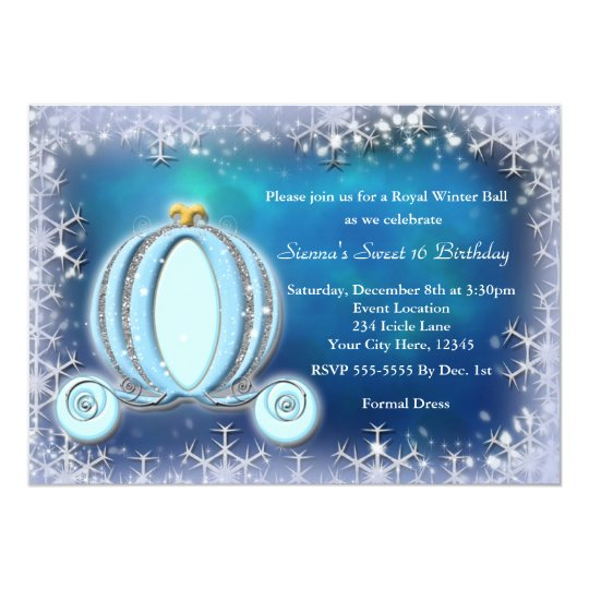 Winter ball cinderella carriage royal invitation zazzle for Cinderella invitation to the ball template