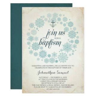 Winter Baptism Invitation Template, Boy