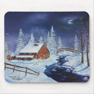 Winter Barn, Night Landscape, Full Moon Mousepad