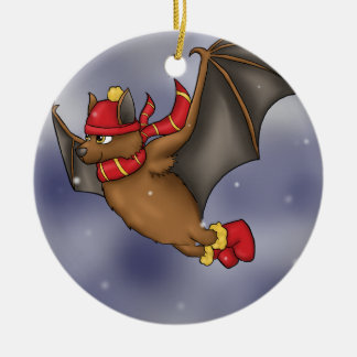 Winter Bat - Red and Yellow Ceramic Ornament