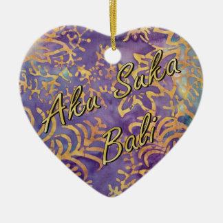 Winter Batik Heart Ceramic Heart Decoration