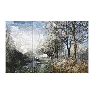 Winter Bayou Trees Landscape Watercolor Painting Canvas Print
