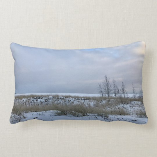 Winter Beach with Trees Scene Throw Pillow