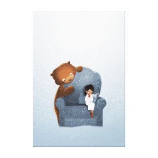 Winter Bear Fantasy Art Sipping Chocolate Large Canvas Print