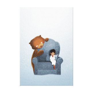 Winter Bear Fantasy Art Sipping Chocolate Medium Canvas Prints