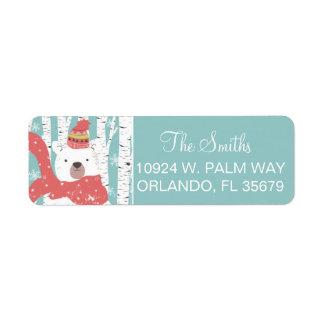 Winter Bear Return Address Label
