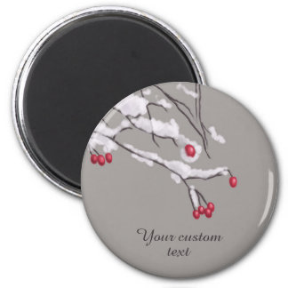 Winter Berries Branches In Snow Custom Text Magnet