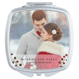 Winter Berries Married and Merry Photo Mirror Travel Mirrors
