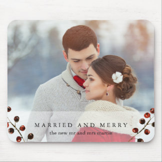Winter Berries Married and Merry Photo Mousepad
