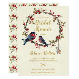 winter berries wreath bridal shower invitation