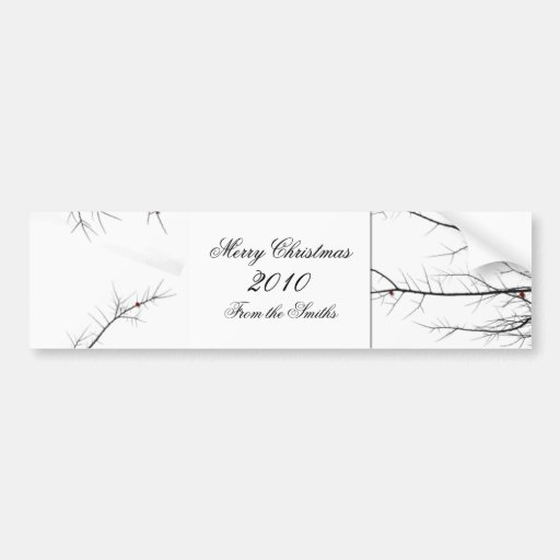 Winter Berry Branch in Black, Red, and White Bumper Sticker