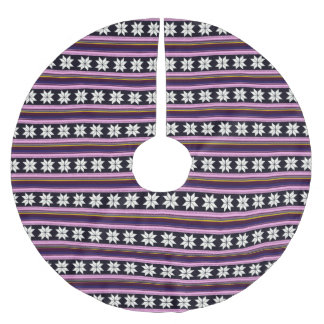 Winter Berry Nordic Knitted Cross Stitch Graphic Brushed Polyester Tree Skirt